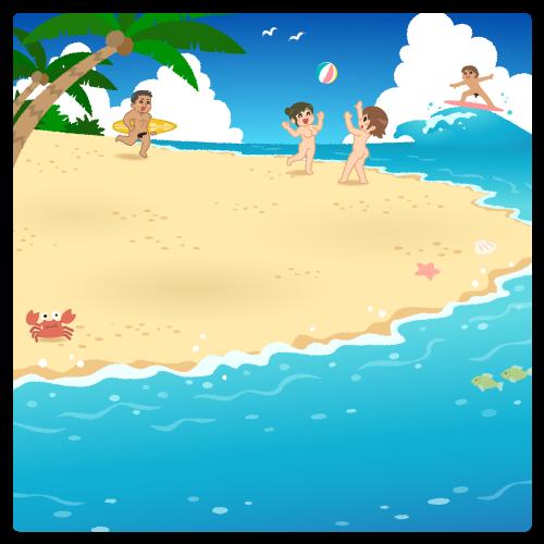 【背景】夏のビーチ02(ヌード)