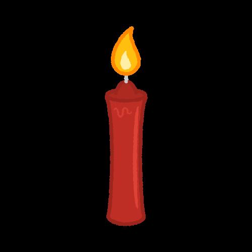火のついた赤いローソク