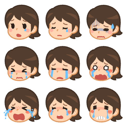 女性の色んな表情(悲しみ)