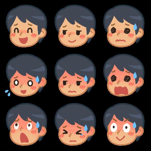 男性の色んな表情(赤面)