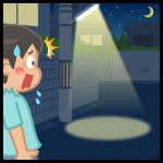 【背景】住宅街の夜道で驚く男性
