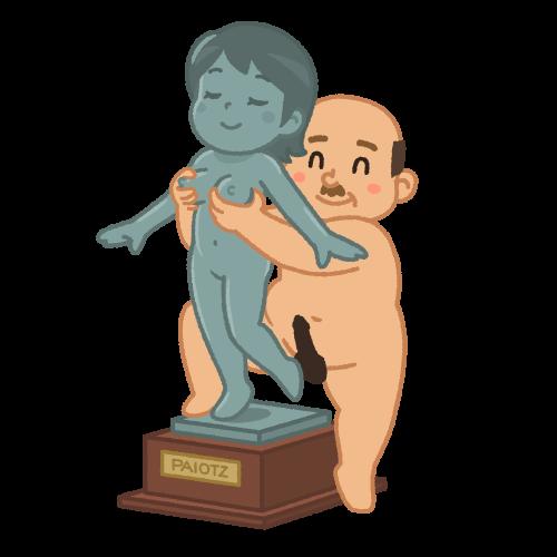 銅像の胸を揉むおじさん