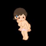 パンティを脱ぐ女性2(赤面・ブラ無し)