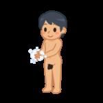手を洗う全裸の男性