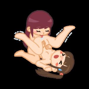 お姉さんにクンニされる貧乳の女性
